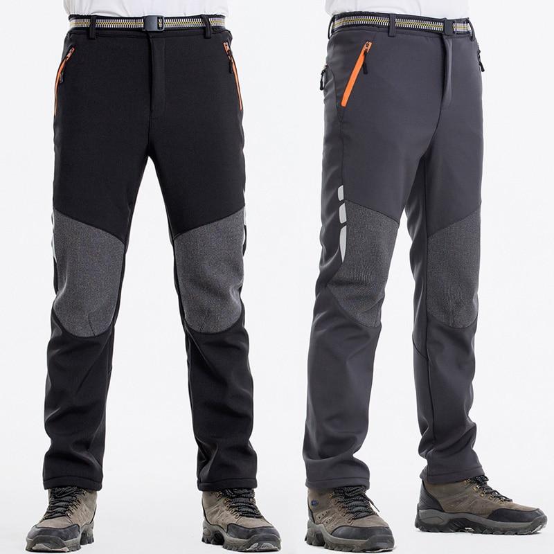 Reflective Men's Winter Hiking Pants Men Warm Fleece Softshell Trousers Outdoor Sports Thick Trekkin