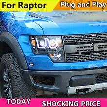 Car Headlights 2008-2015 For Ford F150 Raptor LED U type Angel Eyes HeadLight Black Color LF Headlamp