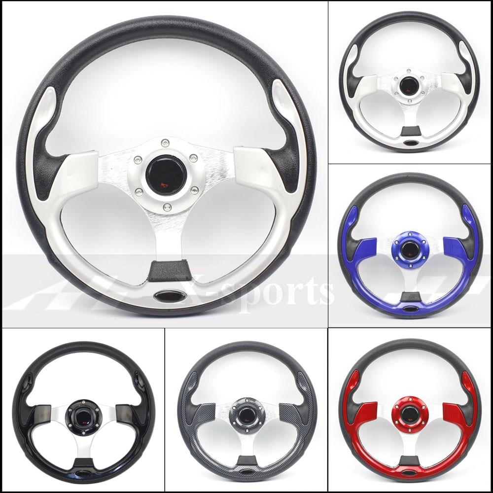 Envío Gratis universal 13 pulgadas 320MM aluminio PU volante deportivo volante de carreras 5 rojo azul plata carbono negro MO