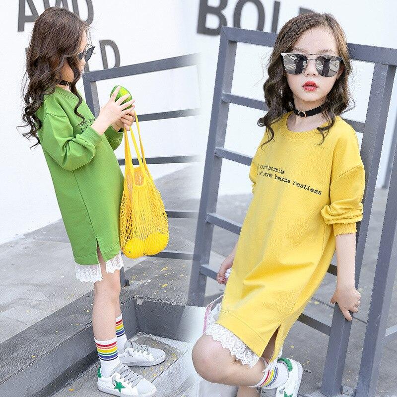 Meninas adolescentes com capuz vestido de manga longa meninas vestido com renda 2019 primavera novas crianças meninas vestidos casuais meninas camiseta vestido outono