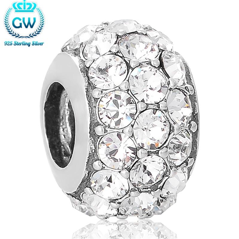 Dijes de plata 925 perlas para amuleto de cristal blanco apto para pulseras de joyería de estilo europeo marca