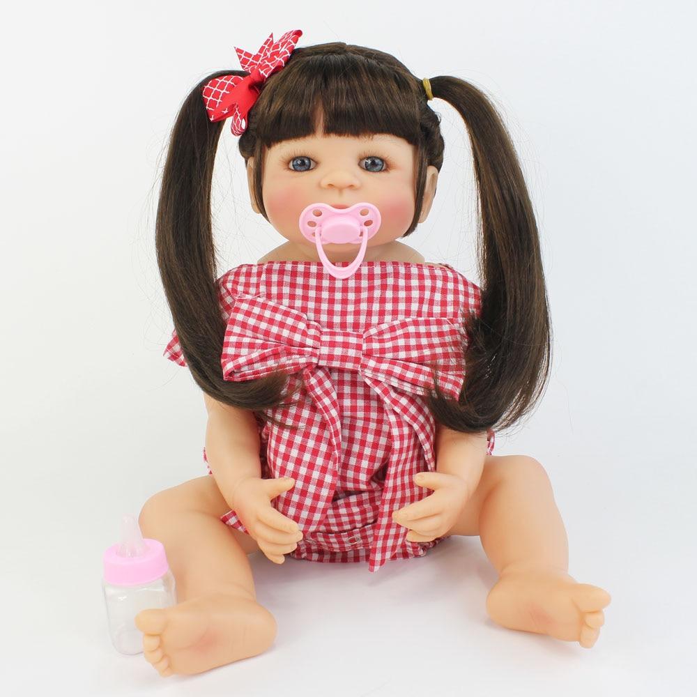 55cm Original Full Silicone Reborn Baby Doll Toys For Girl Boneca Vinyl Newborn Princess Toddler Bebe Kid Child Birthday Gift