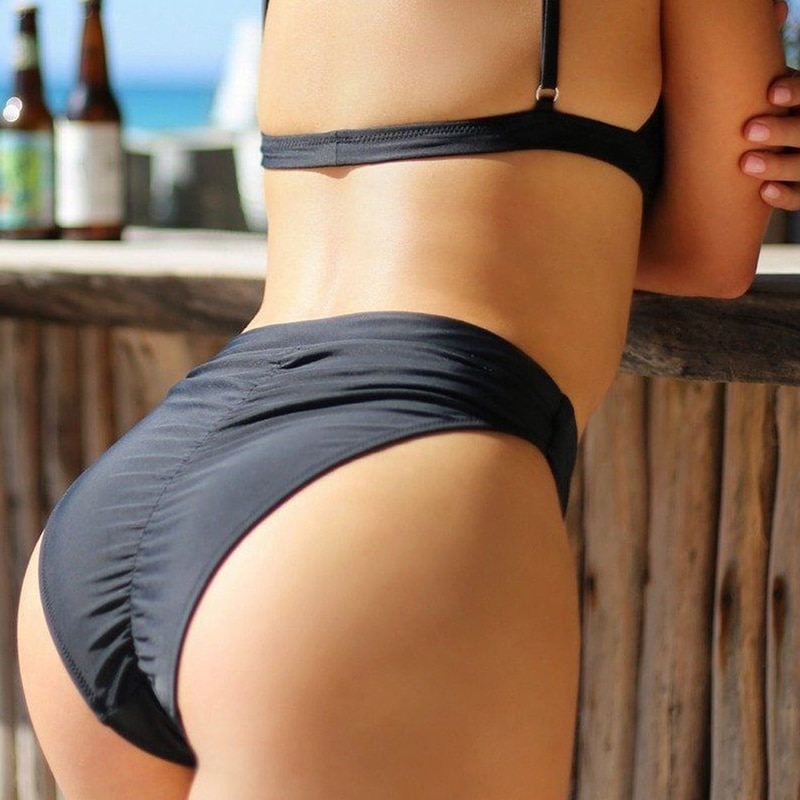 Traje de baño Sexy para mujer, bañador Vintage, Bikini brasileño negro, parte de abajo de Bikini para chica, Bikini descarado de cintura alta, Tanga