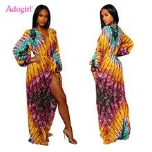 Adogirl mode impression femmes robe asymétrique Sexy Wrap col en V longue lanterne manches haute fente Maxi robe boîte de nuit tenue de fête