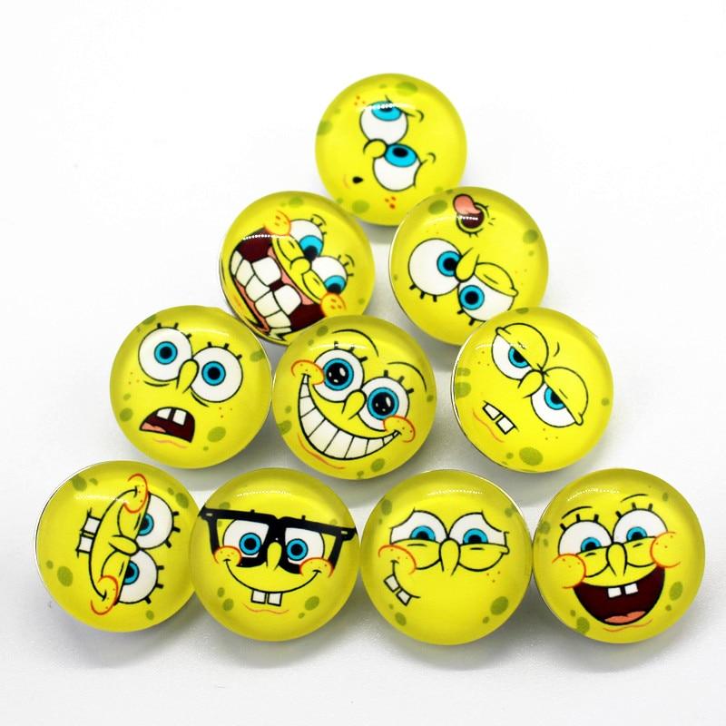 Hot selling 10pcs/lot SpongeBob SquarePants 18mm Print Glass pretty Snap Buttons Charms Fit DIY Snap Bracelets&Bangles Jewelry