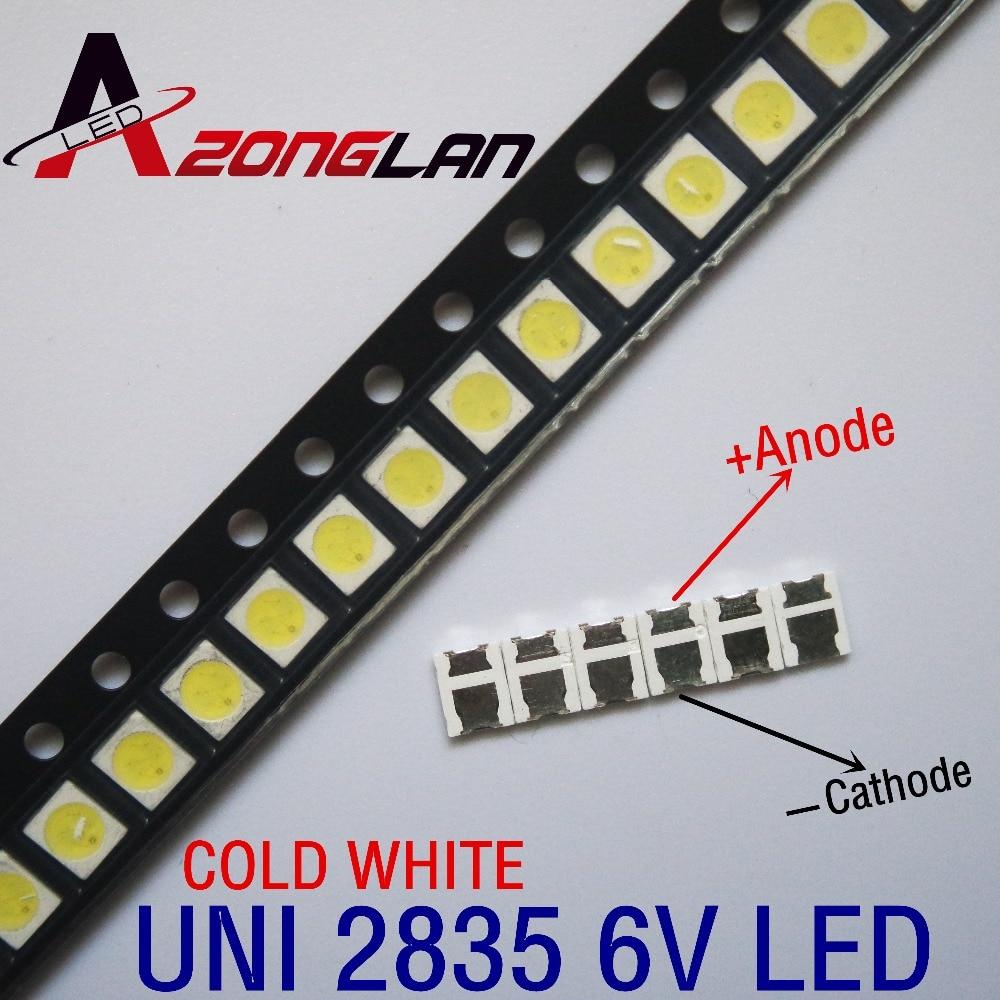 1000 Uds Original UNI LED 3528 2835 1210 cuentas de luz de alta potencia 1W 6V blanco frío para LED LCD TV Backlight Applicatio