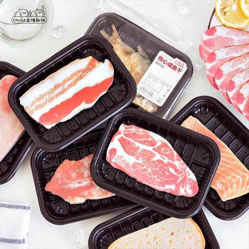 Carne divertido comida N veces Memo Pad notas adhesivas de pescado lindo Post marcador papelería etiqueta material escolar adhesivos Bloc de notas escolar