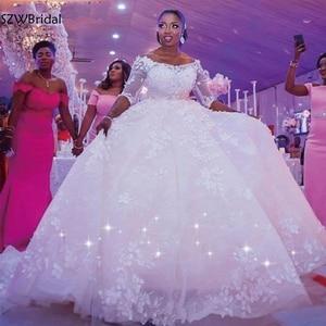 New Arrival Ball Gown Wedding Dresses 2021 casamento Flower lace Beaded Ivory Bride wedding dress Vestido de novia Trouwjurk