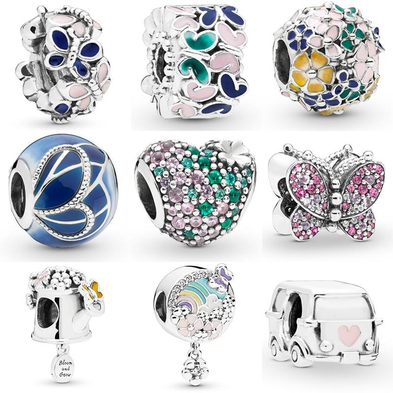 Silver Color Beads Flower Butterfly Heart Glaze Crystal Heart Bead For 925 Original Pandora Charm Bracelets & Bangles Jewelry