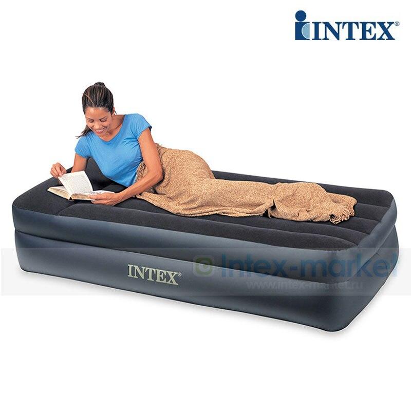 Intex 64122 99*191*43 cm built-in bomba elétrica cama de ar luxo única pessoa uso colchão de piso duplo esteira inflável