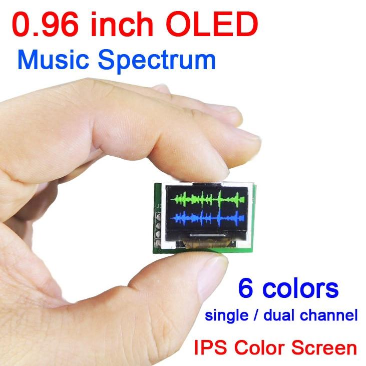 0.96 inch color OLED Music Spectrum Display Analyzer W/ digital CLOCK Amplifier Audio Level Indicator rhythm Analyzer VU METER