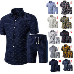2019 casual verão masculino impresso camiseta + shorts padrão decorativo conjuntos de duas peças plus size masculino