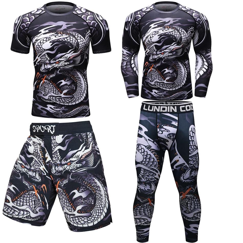 Bjj lycra jiu jitsu camisetas + Pantalones de los hombres Mma lycra sets de boxeo transpirables Muay Thai pantalones cortos MMA Gi Fitness camisetas