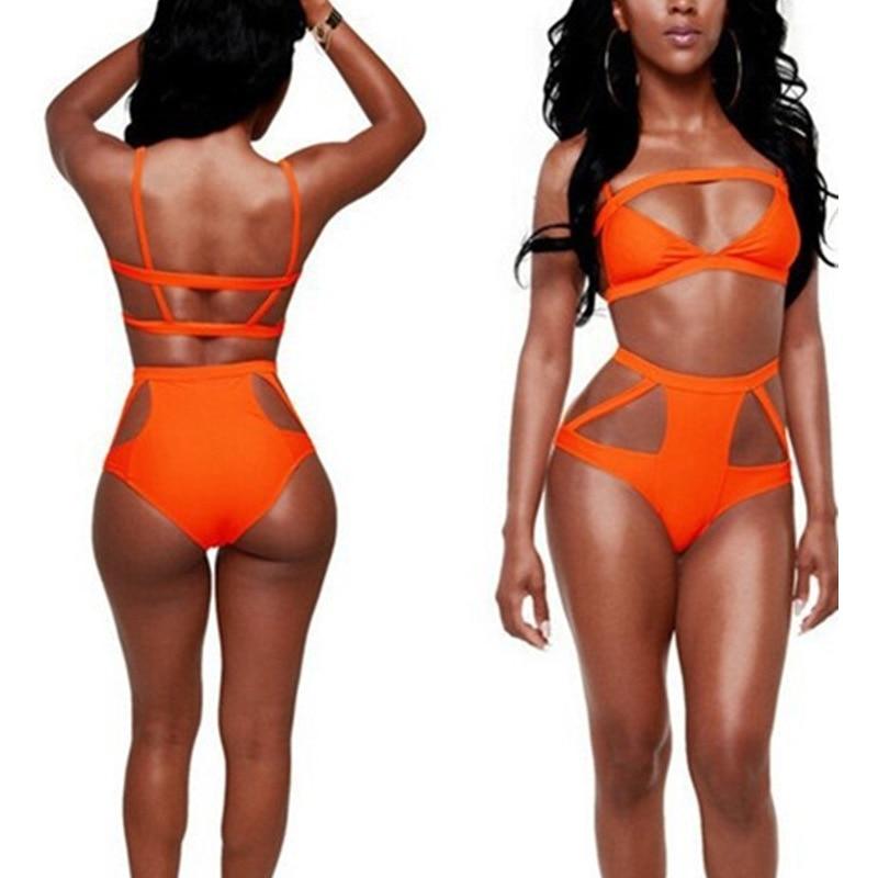 Biquíni Novo estilo de multi corda maiô divisão sexy biquíni oco bandage lady Maiô Biquíni cintura orange maiô