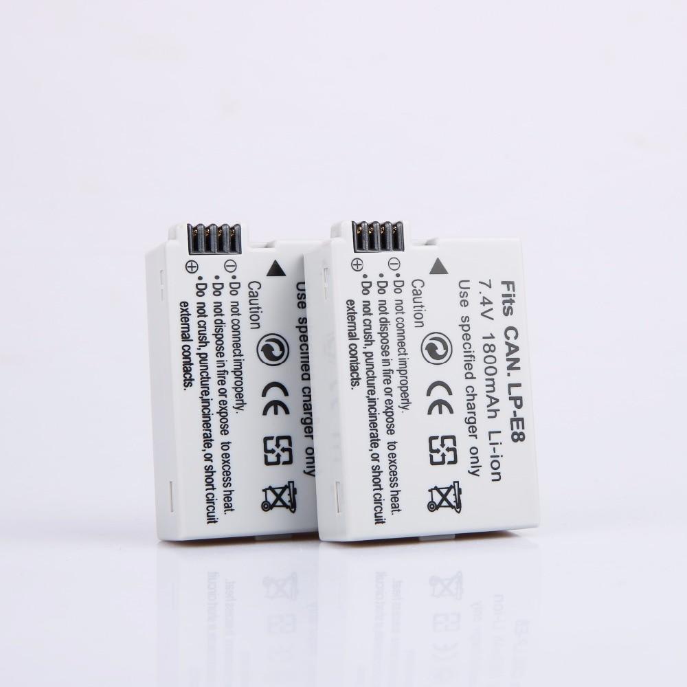 AOPULY 2 uds LP-E8 Paquete de batería LP-E8 lp e8 para Canon...