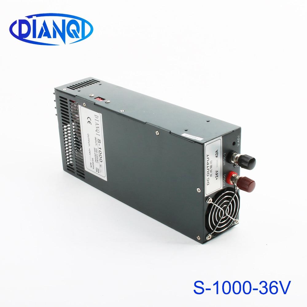 Fuente de alimentación 36v 28a 1000w ac a dc fuente de alimentación 1000w 36v 28a entrada 110v o 220v seleccionar por interruptor de alta calidad s-1000-36