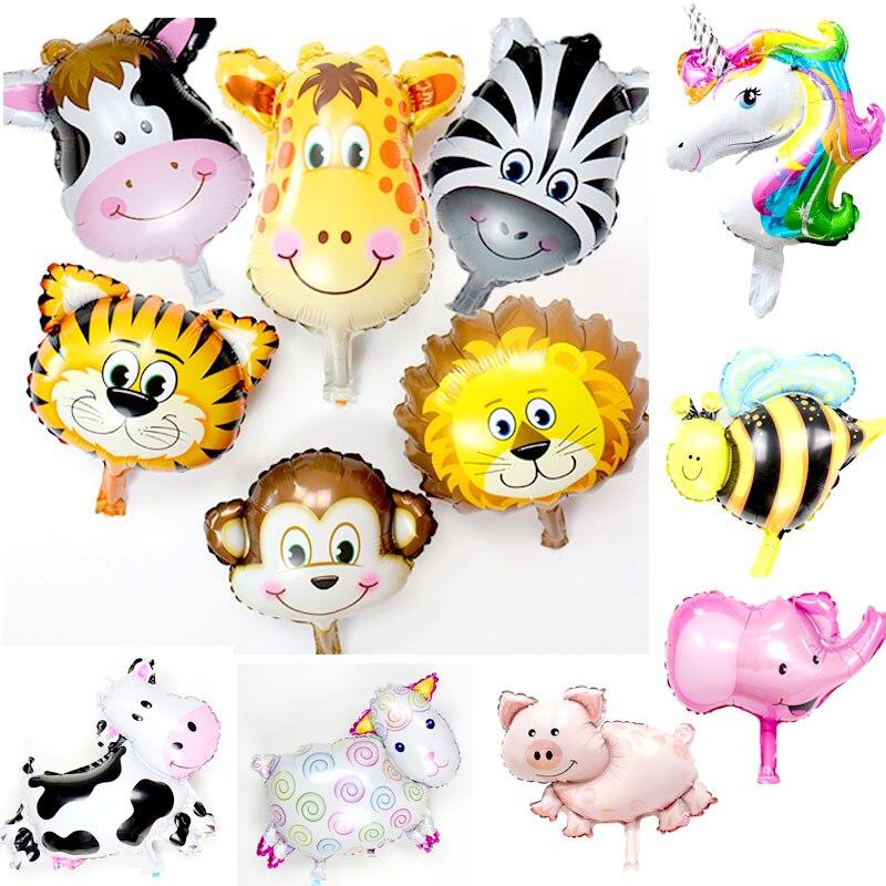 Mini animal folha balões 1pc 40x30cm dos desenhos animados macaco leão tigre vaca chá de fraldas festa de aniversário decoração safari zoo ballons brinquedos