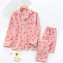 KISBINI 2020 봄 가을 여성 잠옷 세트 하트 프린트 긴 소매 셔츠 + 바지 100% Cotton Women Pajamas Sleepwear Homewear