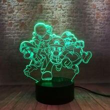 Mario Bros Anime Figma Model 3D Nightlight LED 7 Colors Changing Light Super Mario Luigi Mario Cartoon action & toy figures