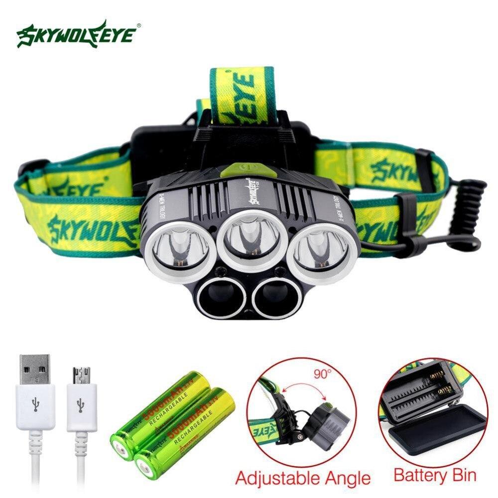 SKYWOLFEYE SKYWOLFEYE 5X LED USB phare 80000LM 5 Modes Super lumineux Camping randonnée lampe + 2 pièces 18650 batterie + charge C