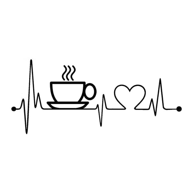 17cm*7.6cm Coffee Sup Heartbeat Fashion Vinyl Stickers Car Accessories Black/Silver S3-4937