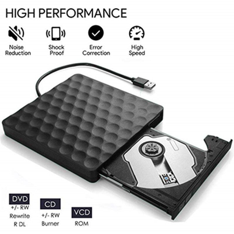 Kuwfi USB 3,0 unidad de DVD externa unidad de CD DVD-RW Rom grabador quemador escritor 5Gbps para ordenadores portátiles