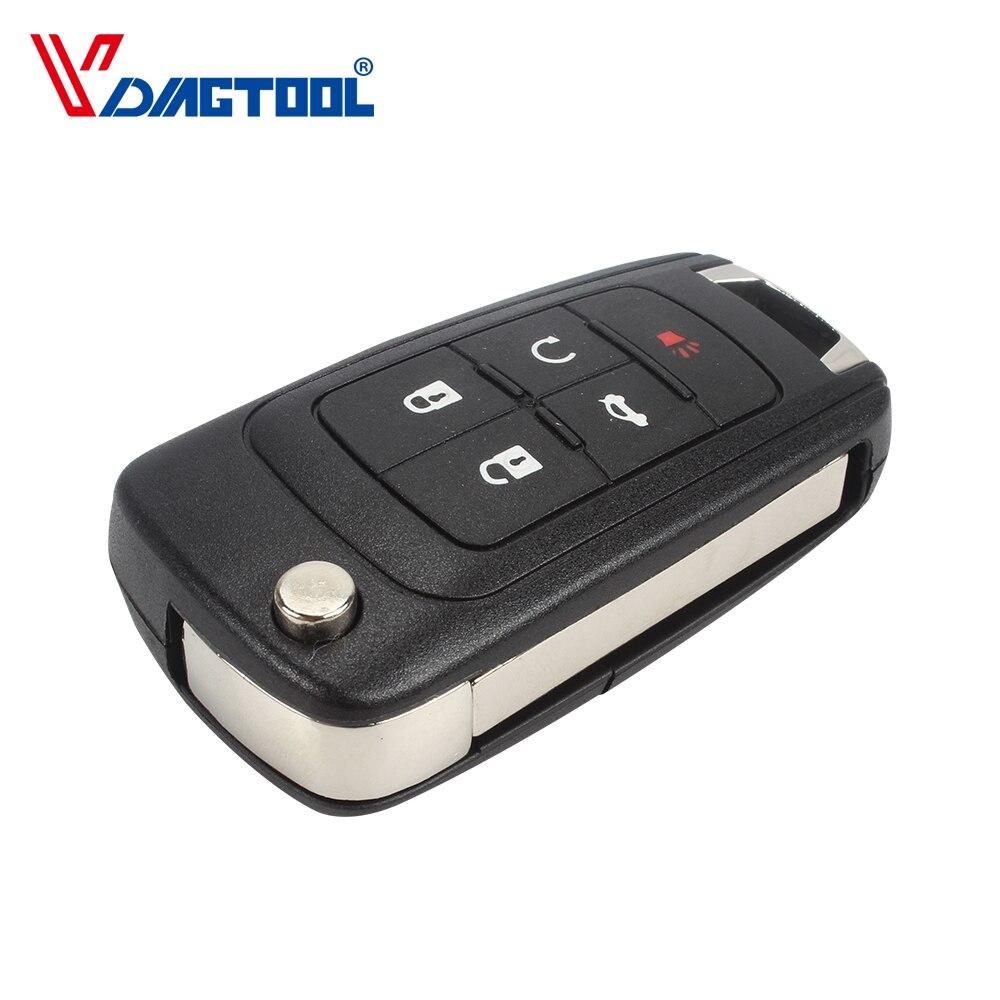 VDIAGTOOL 5 Botões Shell Chave Do Carro para Chevrolet Cruze Aleta Dobrar Caso Chave Remoto Fob Keyless Com HU100 Uncut Lâmina