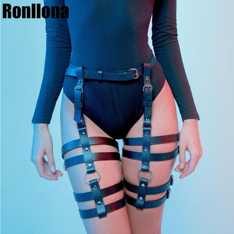 Sexy arnés erótico cinturón esclavitud Lencería liguero cinturón gótico estilo Punk cuero Pu arnés pierna ligas cuerpo arnés jaula