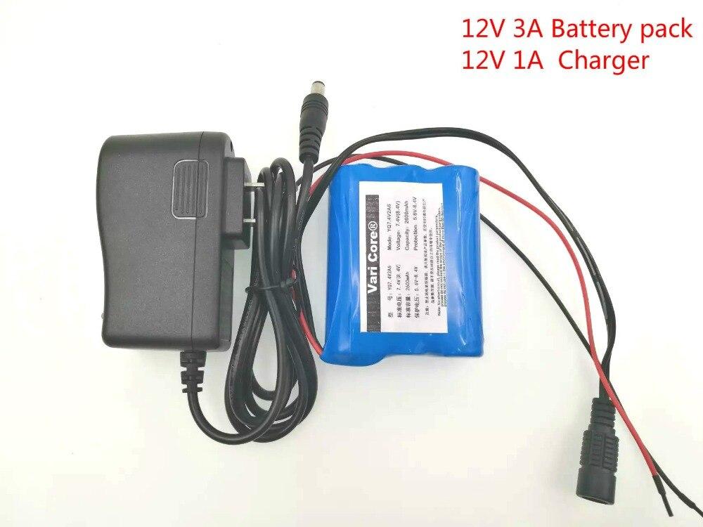 12 В 3000 мАч 18650 литий-ионная аккумуляторная батарея для камер видеонаблюдения, 3 А батареи + 12,6 В 1 а зарядное устройство
