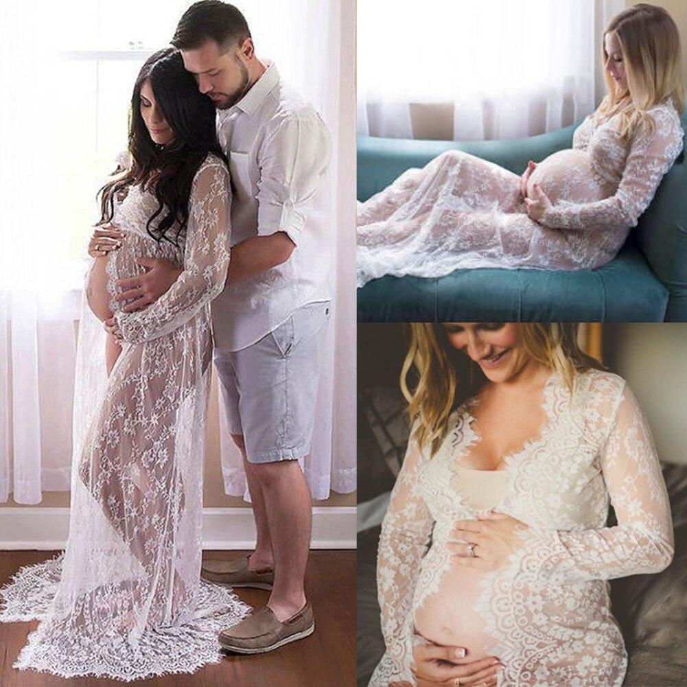 Verano embarazada vestido de encaje de las mujeres Split frontal largo Maxi maternidad blanco y negro vestido de encaje vestido fotografía Prop ver a través de vestido