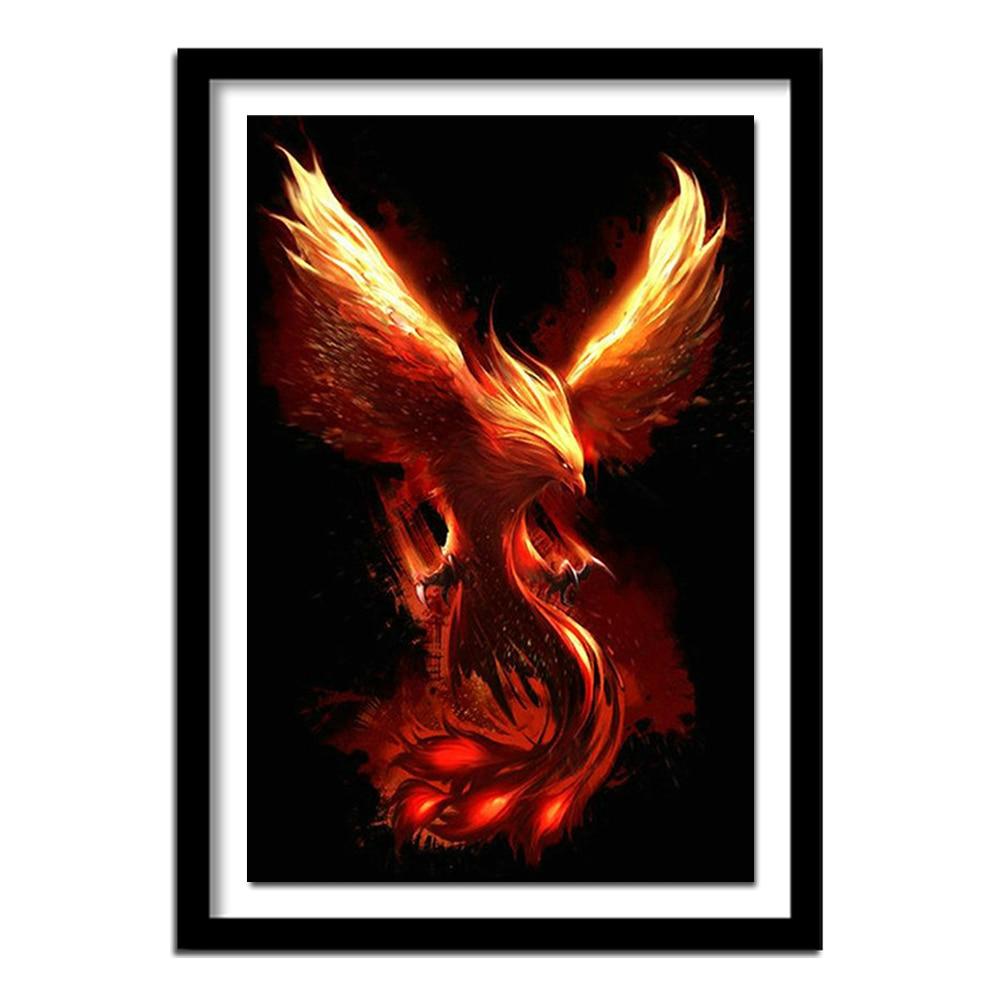 Diamante quadrado completo dos desenhos animados pássaro redondo diamante bordado phoenix fantasia 5d diy pintura diamante ponto cruz sol deus dd