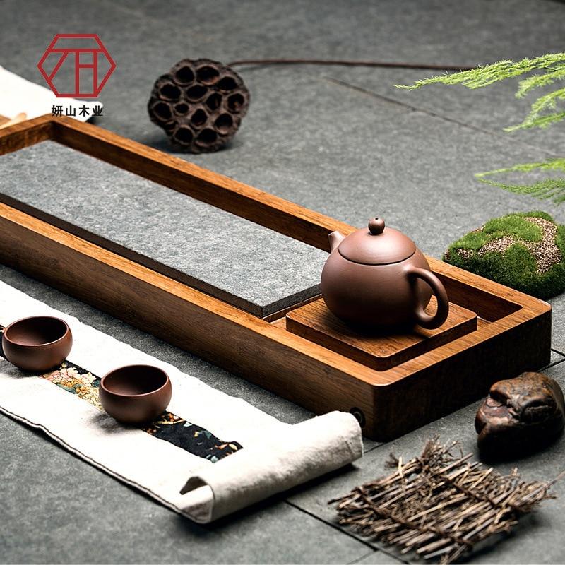 [Yan Mountain] bambú natural en madera de Wujin/bandeja de piedra para té revel nueva fábrica china de té de bambú al por mayor