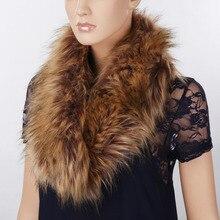 Hot Sales Fashion Fox Fur Scarf Solid Winter Scarf Women Rabbit Raccoon Caps Article Fake Warm Scarves Shawls unisex Collar