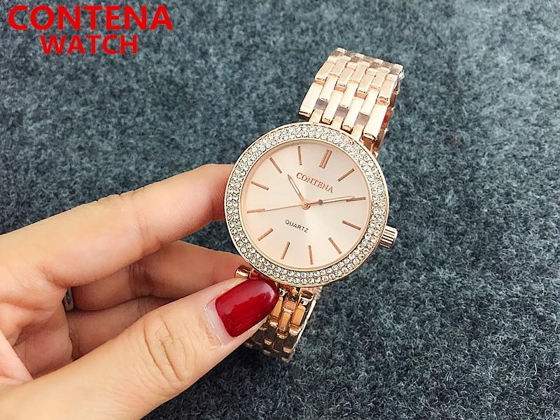 2020 nuevo reloj de mujer oro rosa reloj de pulsera para mujer esfera de diamante relojes de pulsera de cuarzo para mujer pulsera de diamantes de imitación reloj eleagent dress