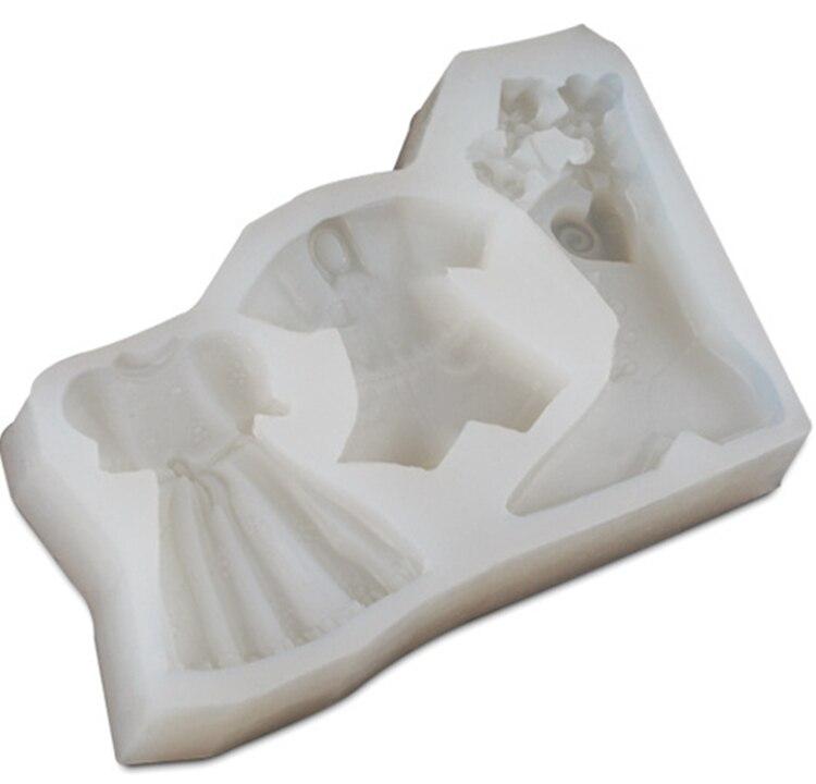 Lindo Vestido Sapatos Conjunto Bolo Jello Jelly Ice Moldes Rendas de Açúcar Moldes para Fondant de Decoração Do Bolo Ferramentas de Cozimento Kawaii C1696