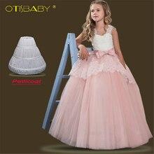 Robe de fête de noël en dentelle   Rose, motif de fleurs, tenue princesse élégante, sans manches, pour adolescentes, nouvelle collection