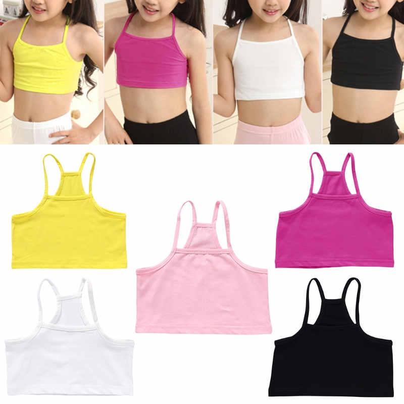 Girls Cotton Vest Teenage Bra Kids Candy Color Sports Breath Tank Tops Underwear