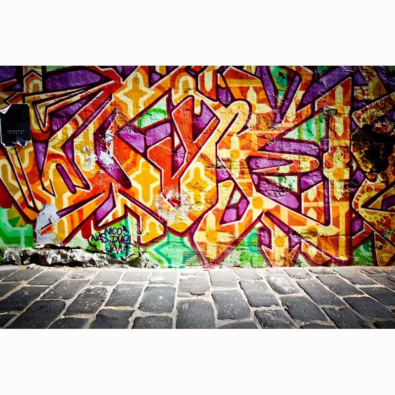 Arte Callejero Graffiti pared de ladrillo gran Giclee telón de fondo de piedra 80s 90s fiesta Photo Booth Studio Props fondo de Hip Hop