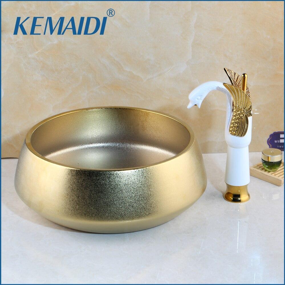 Juego de baño de Arte de color dorado de cerámica hecho a mano de lujo de KEMAIDI, grifos de lavabo de baño, grifo en forma de cisne, juegos de mezclador montados en cubierta