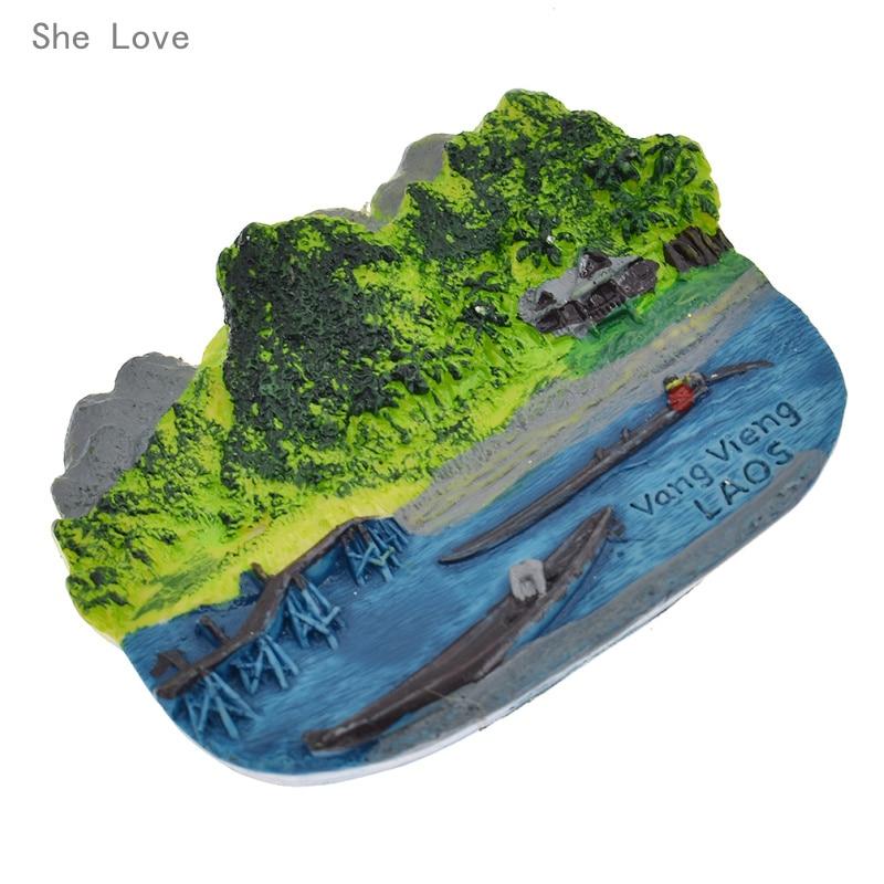 Chzimade Laos Vang Vieng 3D nevera adhesivo magnético para nevera regalo de viaje decoración de recuerdo