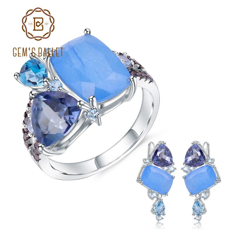 Gems ballet natural aqua-azul calcedônia geométrica casual jóias 925 prata esterlina anel brincos conjunto de jóias para presente feminino