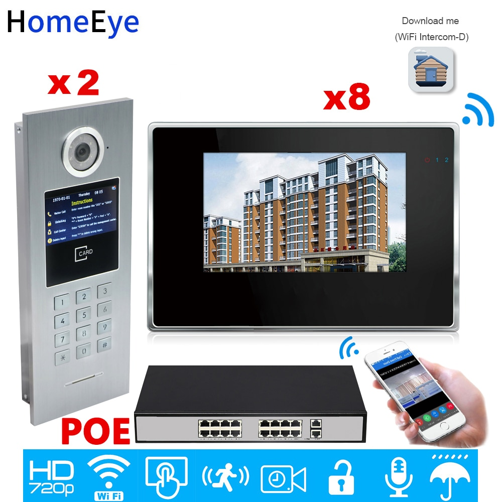 HomeEye 7'' 720P WiFi IP Video Door Phone Smart Video Intercom Home Access Control System Password/RFID Card + POE Switch 2 to 8