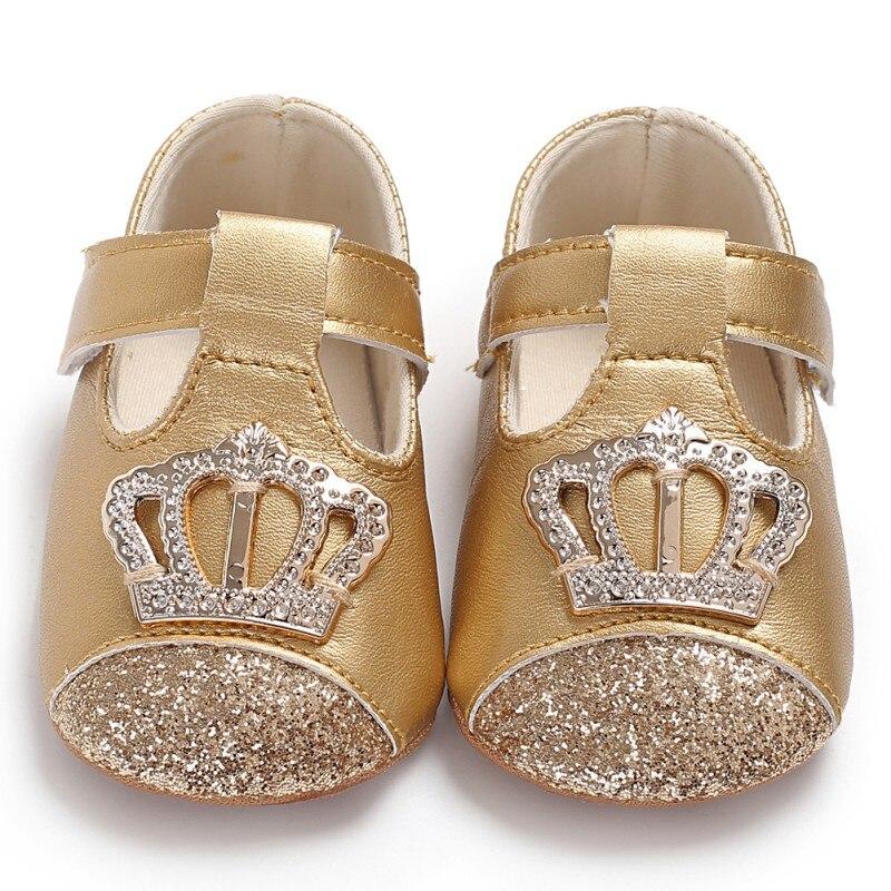 Bebé primavera otoño PU recién nacido niña princesa zapatos PU corona Bling princesa zapatos primer Walker