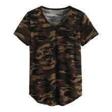 Casual com decote em v camuflagem militar camo t camisa feminina manga curta camiseta das senhoras topos t