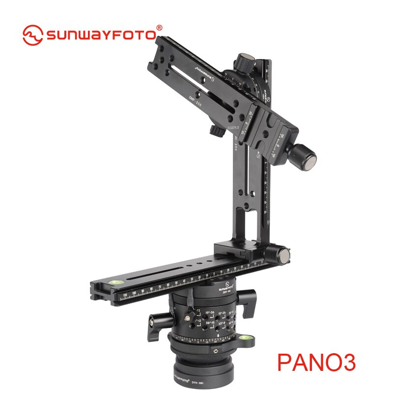 Trípode panorámica SUNWAYFOTO PANO-3 para Dslr 360, panorámica profesional de aluminio, rótula de bola de trípode
