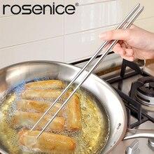 ROSENICE 1 paire de baguettes en acier inoxydable Extra longues de 14 pouces