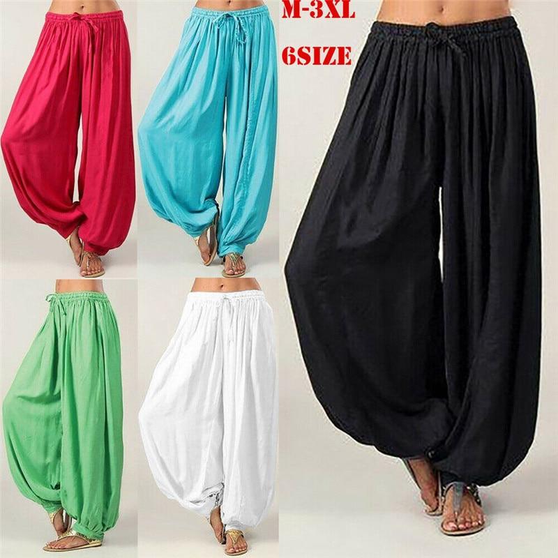 Pantalones Harem de algodón holgados de Yoga Afghani Genie indio Aladdín pantalón de Yoga pantalones de ropa deportiva de talla grande S-3XL