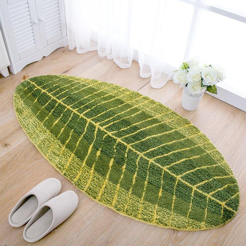 1 Uds verde hojas de alfombras de piso Anti-slip pasillo de entrada Felpudo de absorción de agua de baño alfombra dormitorio Sala alfombra de cocina