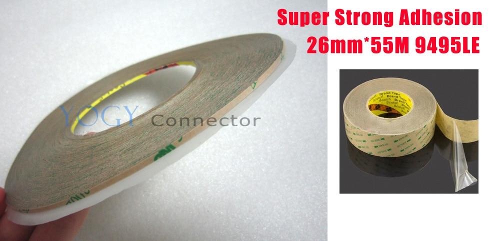 1x26mm x 55M 3M 9495LE 300LSE cinta adhesiva de doble cara para iphone, ipad, samsung, htc, marco de pantalla lcd para teléfono móvil
