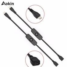 Aokin Für Raspberry PI 3 Power Verlängerung Kabel USB Kabel Mit AUF/OFF Schalter Power Control Toggle für Pi 3 modell B +/B/2/Null/w